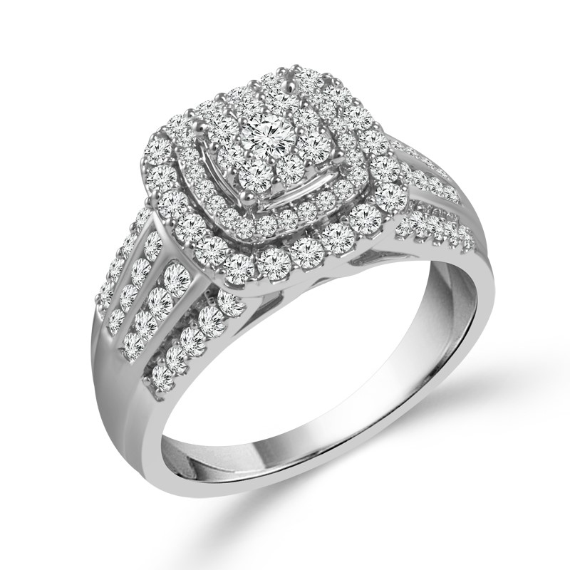 Lady's White 14K Diamond Ring With 1.00Tw Round G/H I1 Diamonds