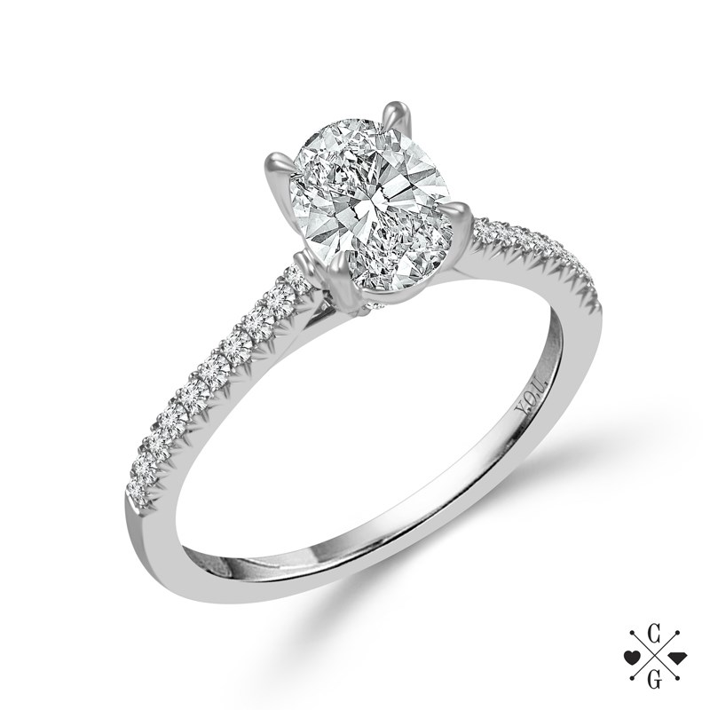 "White 14 Karat Halo Diamond Ring Size 7 With One 0.75Ct Oval G/H Si1-Si2 Diamond And 0.25Tw Round G/H Si1-Si2 Diamonds<br>Collection: ""You"" Collection"