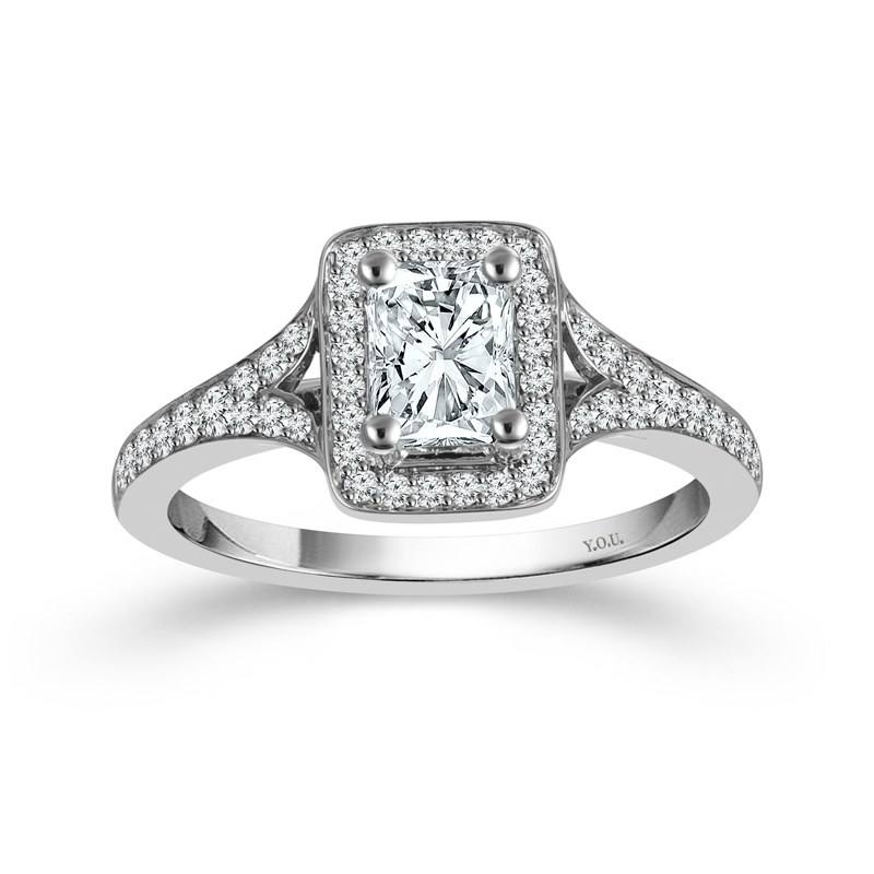 "White 14 Karat Halo Diamond Ring Size 7 With One 0.75Ct Radiant G/H Si1-Si2 Diamond And 0.38Tw Round G/H Si1-Si2 Diamonds<br>Collection: ""You"" Collection"