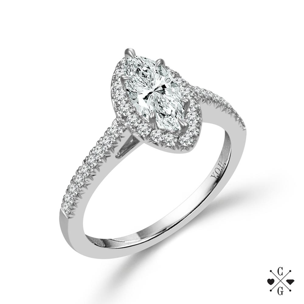 "White 14 Karat Diamond Ring Size 7 With One 0.50Ct Marquise G/H Si1-Si2 Diamond And 0.25Tw Round G/H Si1-Si2 Diamonds<br>Collection: ""You"" Collection"