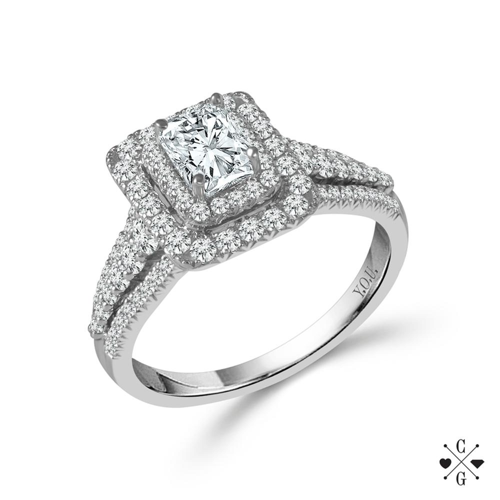 "White 14 Karat Halo Diamond Ring Size 7 With One 0.75Ct Radiant G/H Si1-Si2 Diamond And 1.00Tw Round G/H Si1-Si2 Diamonds<br>Collection: ""You"" Collection"