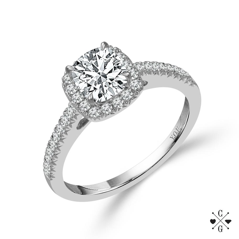 "White 14 Karat Diamond Ring Size 7 With One 0.50Ct Cushion G/H Si1-Si2 Diamond And 0.25Tw Round G/H Si1-Si2 Diamonds<br>Collection: ""You"" Collection"