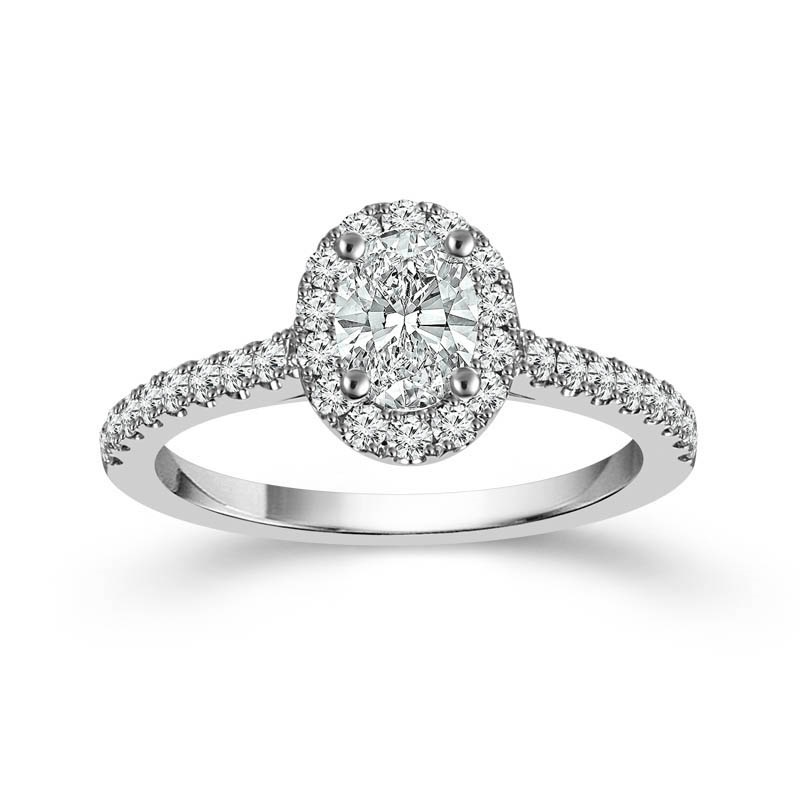 "White 14 Karat Halo Diamond Ring Size 7 With One 0.75Ct Oval G/H Si1-Si2 Diamond And 0.50Tw Round G/H Si1-Si2 Diamonds<br>Collection: ""You"" Collection"