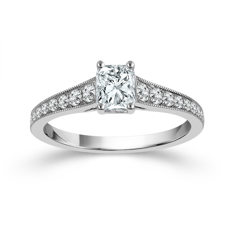 "White 14 Karat Diamond Ring Size 7 With One 0.75Ct Radiant G/H Si1-Si2 Diamond And 0.25Tw Round G/H Si1-Si2 Diamonds<br>Collection: ""You"" Collection"