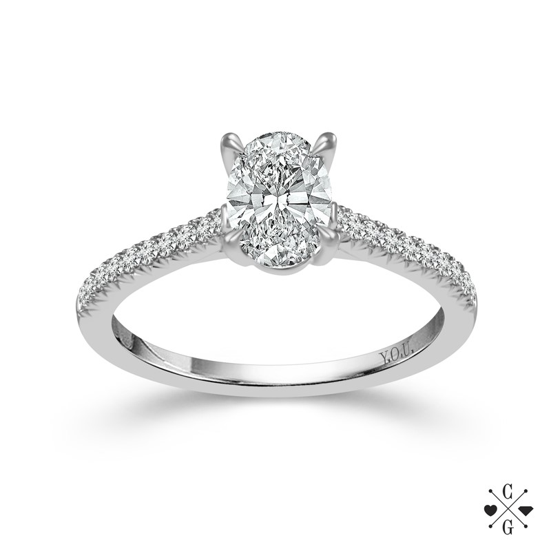 "White 14 Karat In Line Diamond Ring Size 7 With One 0.75Ct Oval H Si2 Diamond And 30=0.25Tw Round H/I Si2-I1 Diamonds<br>Collection: ""You"" Collection"