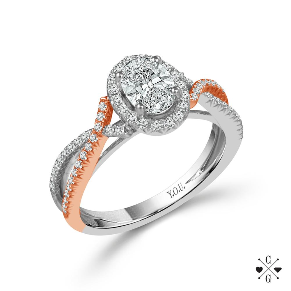 "Two Tone White And Rose 14 Karat Halo Diamond Ring Size 7 With One 0.74Ct Oval G Si2 Diamond And 80=0.40Tw Round G/H Si2-I1 Diamonds<br>Collection: ""You"" Collection"