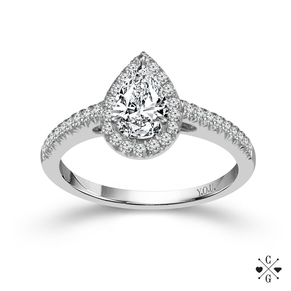"White 14 Karat Halo Diamond Ring Size 7 With One 0.51Ct Pear I Si2 Diamond And 46=0.25Tw Round G/H Si2-I1 Diamonds<br>Collection: ""You"" Collection"
