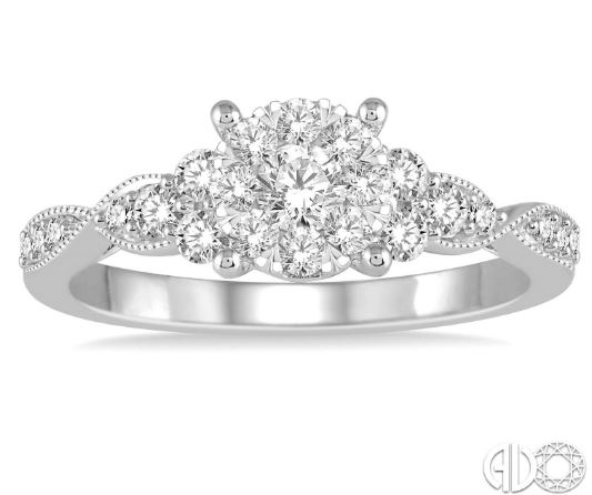 White 14 Karat Cluster Diamond Ring Size 6.5 With 23=0.55Tw Round G/H Si1-Si2 Diamonds<br>Collection: Lovebright