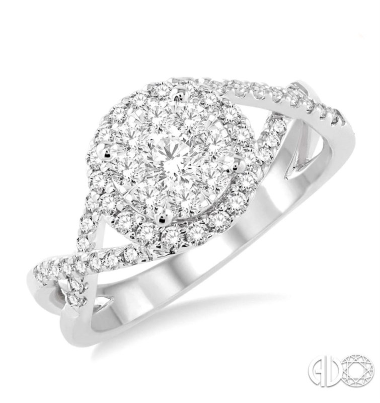 White 14 Karat Halo Cluster Diamond Ring Size 6.5 With 58=0.70Tw Round H Si1-Si2 Diamonds<br>Collection: Lovebright