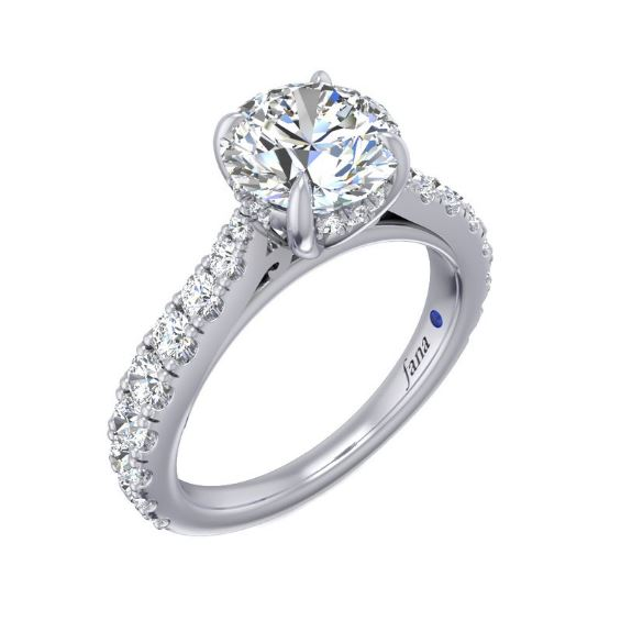 This highly detailed engagement ring features diamonds not only along the band but on the diamond basket too, making your ring shine from all angles.<br><br>White 14 Karat Pave Diamond Basket Ring Size 6.5 With One Round Cubic Zirconium And 28=0.79Tw Round G/H Vs2-Si1 Diamonds<br>Collection: Fana Jewelry