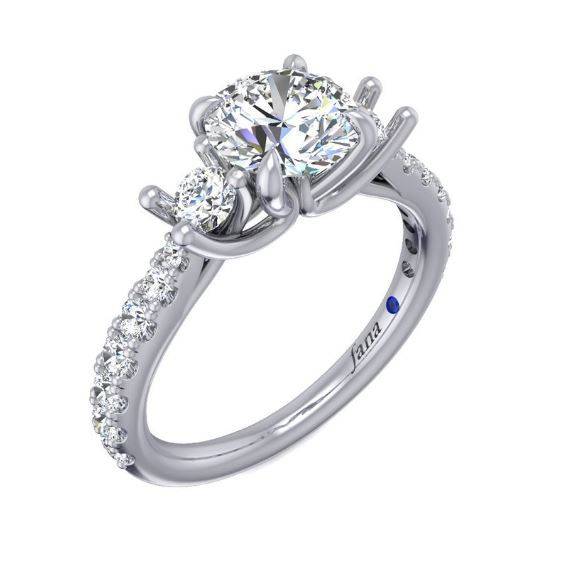 Rich In Meaning And Beauty, This Three-Stone Engagement Ring Stands Out With Two Glorious Accent Diamonds And Pave Down Each Side Of The Band, Highlighting The Main Diamond.<br><br>White 14 Karat 3 Stone Pave Diamond Ring Size 6.5 With One Round Cubic Zirconium And 16=0.65Tw Round G/H Vs2-Si1 Diamonds<br>Collection: Fana Jewelry
