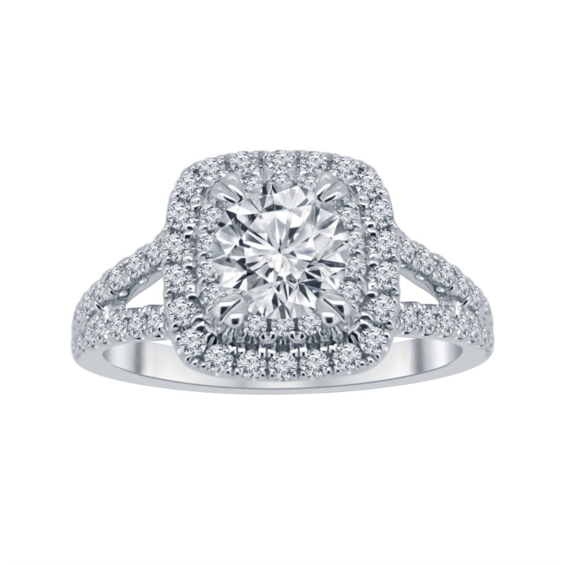 White 14 Karat Halo Lab Diamond Ring Size 6.5 With One 0.80Ct Round H Lab Grown Diamond And 68=0.60Tw Round H Lab Grown Diamonds<br>Collection: Altr