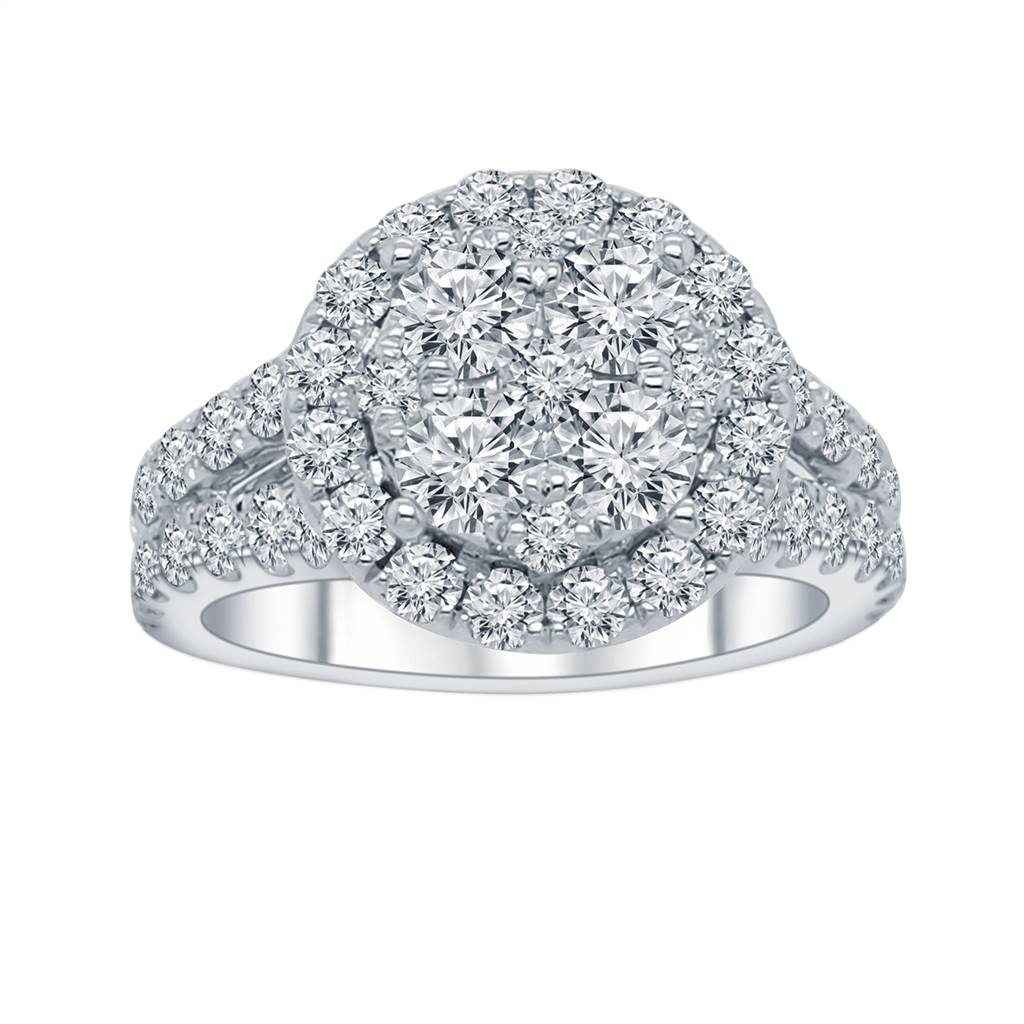 White 14 Karat Cluster Lab Diamond Ring Size 6.5 With 57=0.96Tw Round G/H I1 Lab Grown Diamonds<br>Collection: Altr