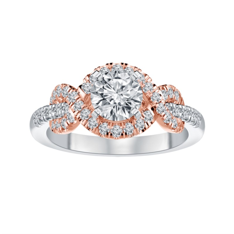 Two Tone White And Rose 14 Karat Lab Diamond Ring Size 6.2 With One 0.53Ct Round I Vvs2 Lab Grown Diamond And 44=0.45Tw Round G/H Vs2-Si1 Lab Grown Diamonds<br>Collection: Altr