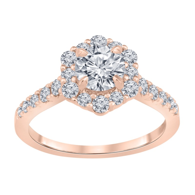 Rose 14 Karat Hexagon Halo Lab Diamond Ring Size 6.5 With One 0.82Ct Round I Vs2 Lab Grown Diamond And 22=0.68Tw Round G/H Vs2-Si1 Lab Grown Diamonds Collection: Altr