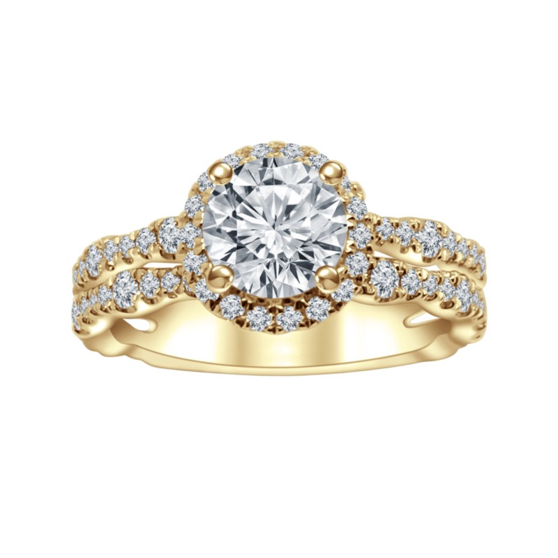Yellow 14 Karat Halo Lab Diamond Ring Size 6.5 With One 0.91Ct Round I Vvs2 Lab Grown Diamond And 77=0.69Tw Round G/H Vs2-Si1 Lab Grown Diamonds Collection: Altr