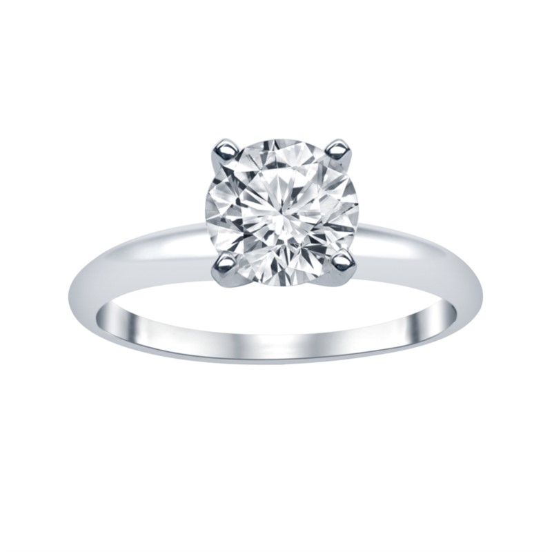 White 14 Karat Lab Diamond Solitaire Size 6.5 With One 1.03Ct Round K I1 Lab Grown Diamond<br>Collection: Altr
