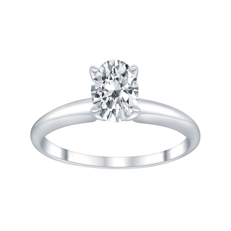 White 14 Karat Diamond Solitaire Size 6.5 With One 1.00Ct Oval K SI1 Lab Grown Diamond<br>Collection: Altr