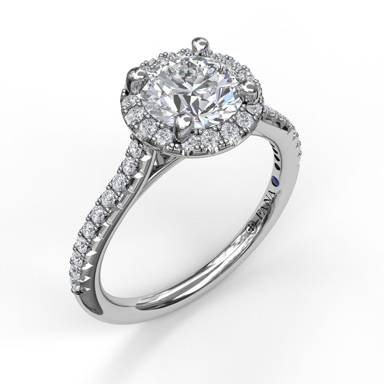 White 14 Karat Solitaire Mounting Size 6.5 With 40=0.27Tw Round G/H Vs2-Si1 Diamonds<br>Collection: Fana Jewelry