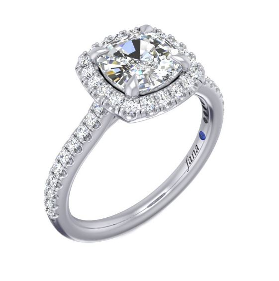Lavish And Lovely, A Cushion Halo Adds New Dimension To This Captivating Style, Complementing The Delicate Diamond-Encrusted Band.<br><br>White 14 Karat Halo Semi Mount Size 6.5 With 42=0.35Tw Round G/H Vs2-Si1 Diamonds And One 0.01Ct Round Sapphire<br>Collection: Fana Jewelry