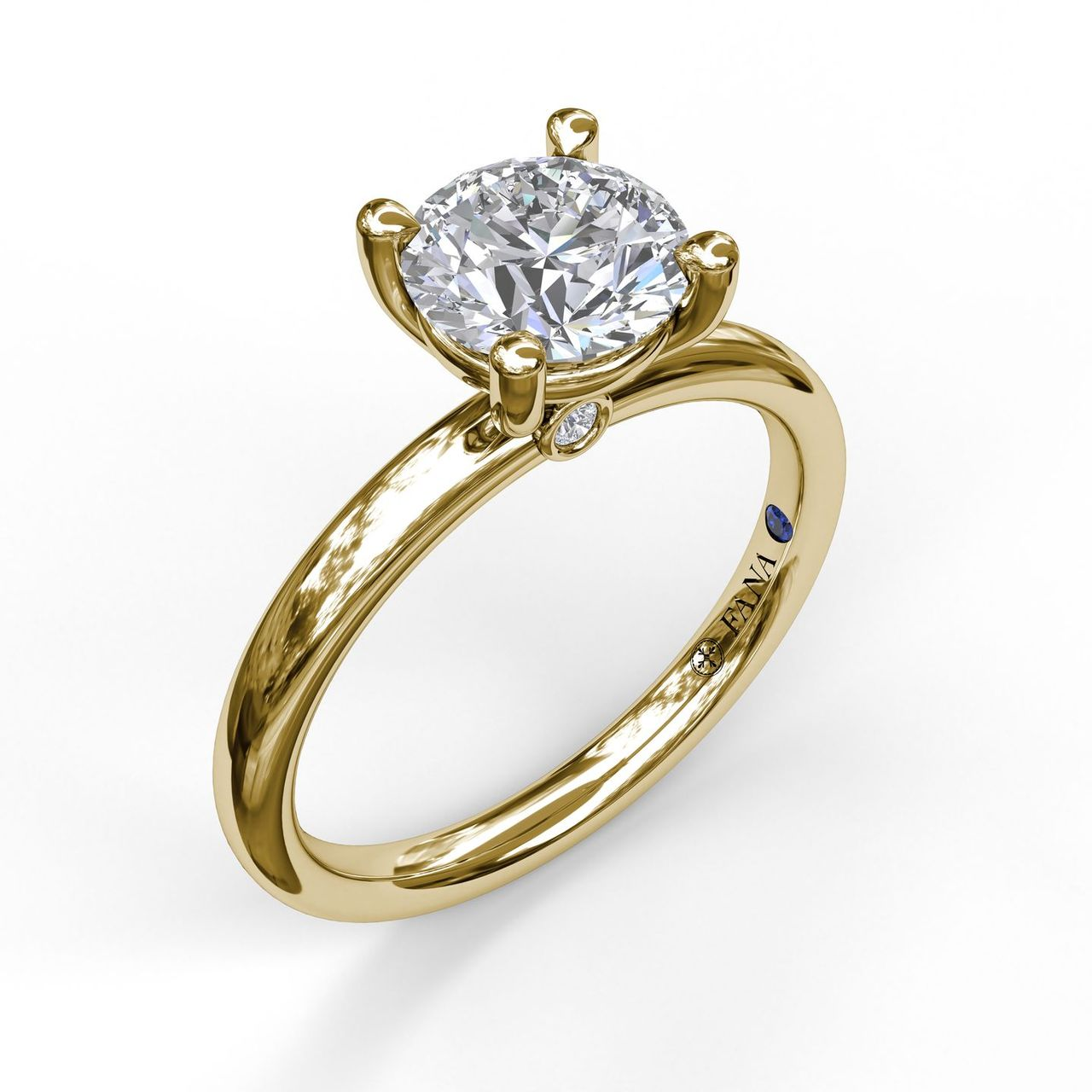 Yellow 14 Karat Solitaire Semi Mount With Peek A Boo Size 6.5 With One Round Cubic Zirconium And 2=0.04Tw Round G/H Vs2-Si1 Diamonds With Signature Sapphire<br>Collection: Fana Jewelry