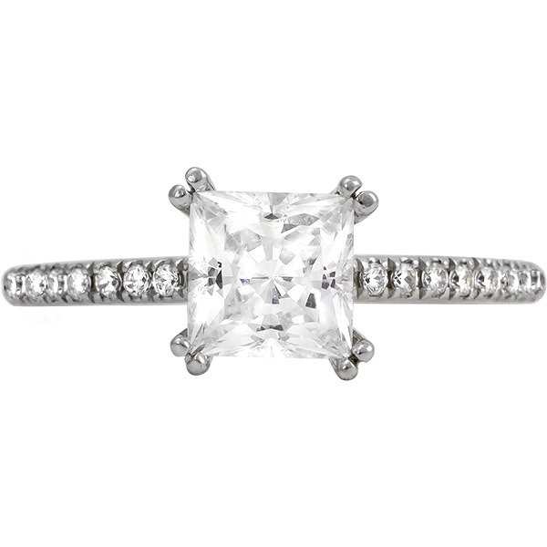 White 14 Karat In Line Semi Mount Size 7 With One 1.00Ct Princess Cubic Zirconium And 18=0.14Tw Round G/H Si2-I1 Diamonds (Wedding Band Sold Separately)