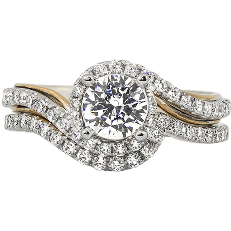 Two Tone White And Rose 14 Karat Halo Semi Mount Size 7 With One 0.75Ct Round Cubic Zirconium And 34=0.19Tw Round G/H Si2-I1 Diamonds ( Wedding Band Sold Separately)
