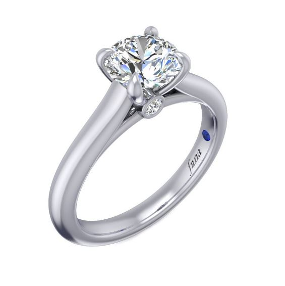 A Sleek Band Pulls Your Attention To The Center Diamond In This Minimalist Style That Will Make You Fall In Love With The Classics All Over Again. A Surprise Diamond Under The Center Stone Adds A Unique Touch.<br><br>White 14 Karat Solitaire Semi Mount With Peek A Boo Diamond Size 6.5 With One Round Cubic Zirconium And 2=0.04Tw Round G/H Vs2-Si1 Diamonds<br>Collection: Fana Jewelry