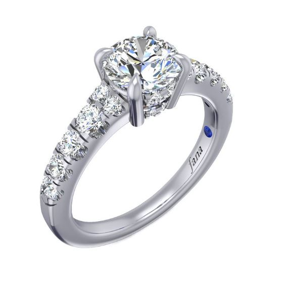 Take Your Engagement Ring To The Next Level With A Stunning Border Of Diamonds That Accentuates The Perfection Of The Round Diamond In This Designer Piece.<br><br>White 14 Karat In Line Semi Mount Size 6.5 With One Round Cubic Zirconium And 20=0.54Tw Round G/H Vs2-Si1 Diamonds<br>Collection: Fana Jewelry