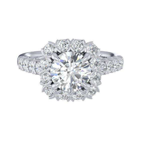 Daring And Lustrous, This Style Showcases Large And Lavish Diamond Rounds That Wrap Themselves Around The Center Gem, Adding To The Allure Of This Magnificent Ring.<br><br>White 14 Karat Large Cushion Halo Semi Mount Size 6.5 With One Round Cubic Zirconium And 38=0.75Tw Round G/H Vs2-Si1 Diamonds<br>Collection: Fana Jewelry