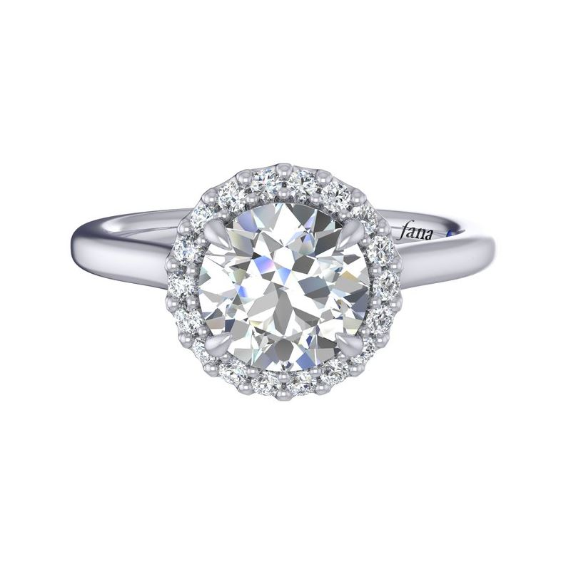 White 14 Karat Classic Halo Semi Mount Size 6.5 With One Round Cubic Zirconium And 18=0.17Tw Round G/H Vs2-Si1 Diamonds With Signature Sapphire<br>Collection: Fana Jewelry