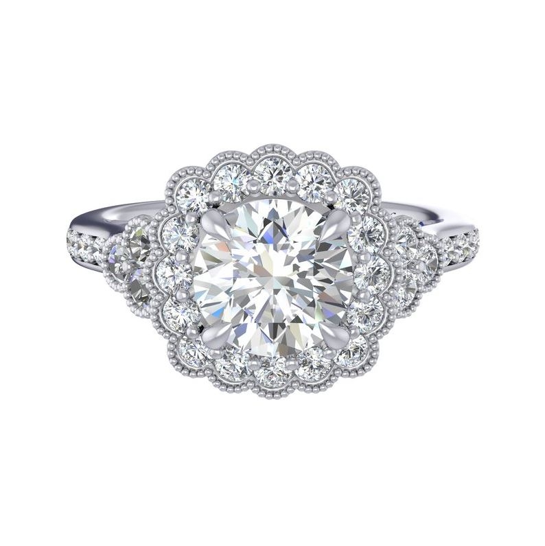 White 14 Karat Floral Halo Semi Mount Size 6.5 With One Round Cubic Zirconium And 56=0.20Tw Round G/H Vs2-Si1 Diamonds With Signature Sapphire Collection: Fana Jewelry